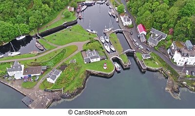 Aerial view of the beautiful historic harbour village of...