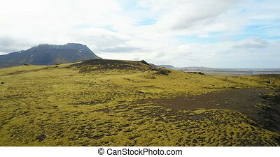 Aerial view of the beautiful landscape, the green lava field...