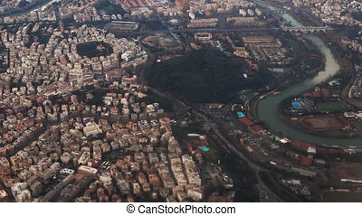 Aerial view of the beautiful panorama of Rome, Italy....