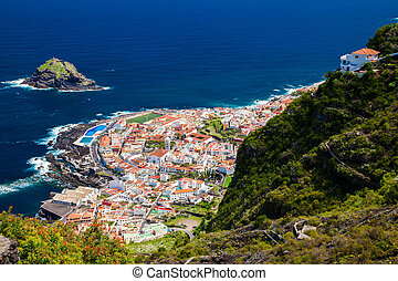 aerial view of the beautiful small town Garachico