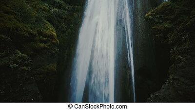 Aerial view of the beautiful waterfall Gljufrabui in...