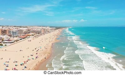 Aerial view of the beautifull beaches of Costa Blanco, Spain.