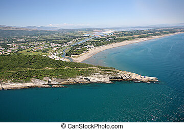 Aerial view of the Big beach, Ulcinj, Montenegro. - Aerial...