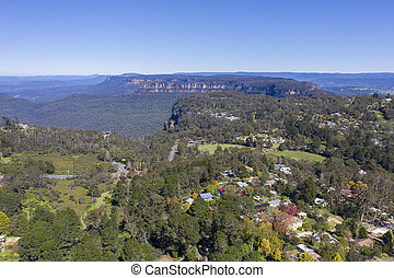 Aerial view of The Blue Mountains in New South Wales ...