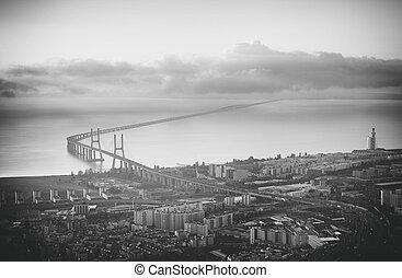 Aerial view of the bridge Vasco da Gama in Lisbon.