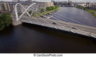 Aerial view of the cable-stayed bridge