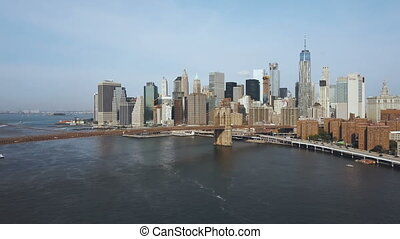 Aerial view of the capital of America, New York. Drone...
