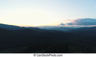 aerial view of the Carpathian mountains at sunset