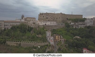 Aerial view of the Castle of Sant'Elmo in Naples. Flying drone around the castle.