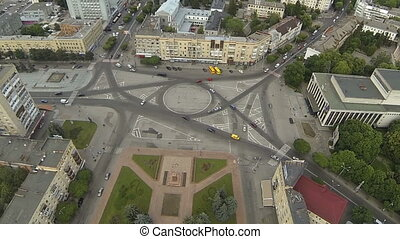 Aerial view of the Cathedral Square in Zhytomyr. Ukraine