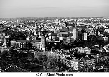 Aerial view of the cener of Krakow, Poland. Black and white photo.