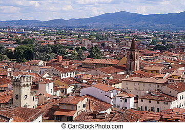 Aerial view of the center of Pistoia
