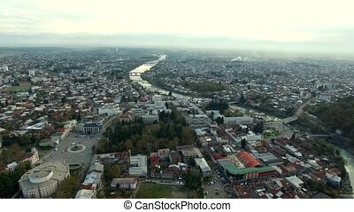 aerial view of the central part of Kutaisi with Rioni river
