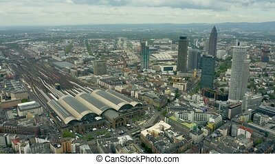 Aerial view of the central railway station of Frankfurt am...
