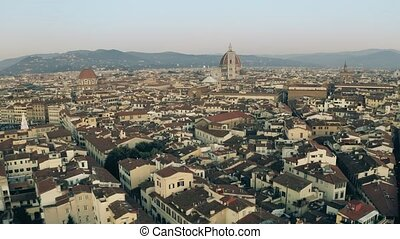 Aerial view of the centre of Florence in the evening....
