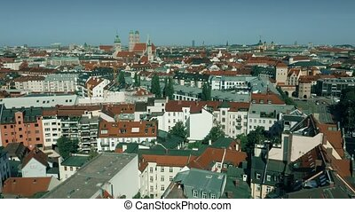 Aerial view of the centre of Munich, Germany