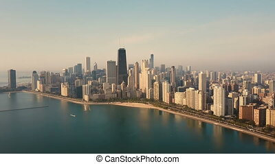 Aerial view of the Chicago, America early in the morning....