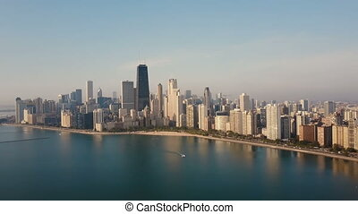 Aerial view of the Chicago, USA on the shore of the lake...