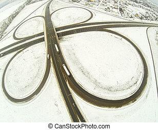 Aerial view of the circular motorway junction