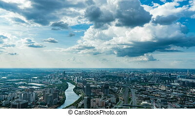 Aerial view of the city. 4k. Time lapse. Moscow arial view, video loop.