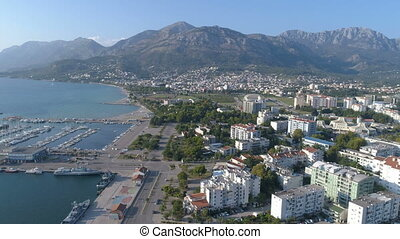 Aerial view of the city Bar and port, Montenegro