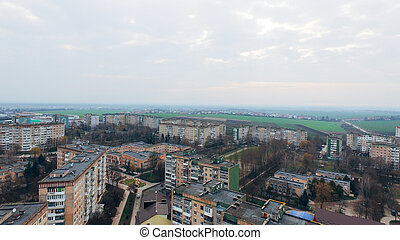Aerial view of the city from a bird's eye view