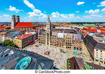 Aerial view of the City Hall at the Marienplatz in Munich, Germany