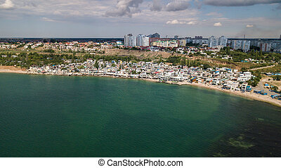 Aerial view of the city near the Black Sea
