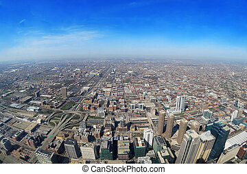 chicago - aerial view of the city of chicago