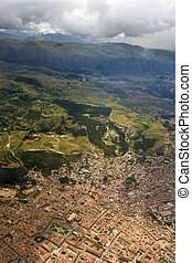 Aerial view of the city of Cuzco in Peru, South America.