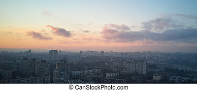 Aerial view of the city of Kiev in the morning, a beautiful ...