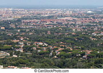 Aerial View of the city of Livorno in Tuscany, Italy