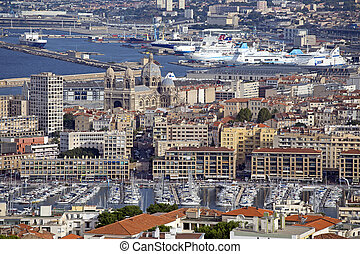 marseilles - aerial view of the city of marseilles in france