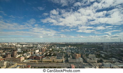 Aerial view of the city of Moscow - Clouds over the city,...