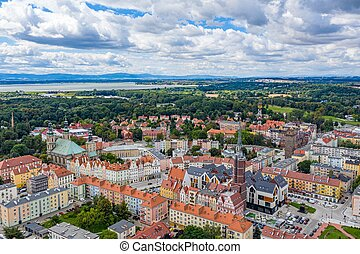 Aerial view of the city of Nysa in Poland