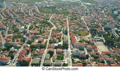 Aerial view of the city of Pula in summer, Croatia