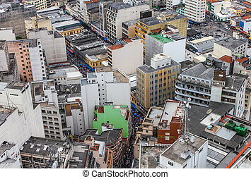 Aerial view of the city of Sao Paulo, Brazil, South America