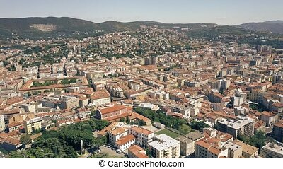 Aerial view of the city of Trieste, Italy