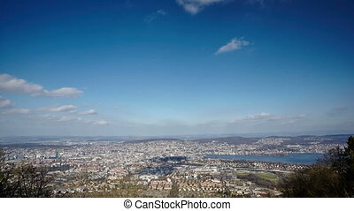 aerial view of the city of Zurich from Uetliberg hill