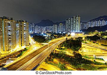 aerial view of the city overpass at night, Hong Kong