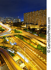aerial view of the city overpass at night, Hong Kong, Asia