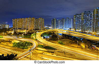city overpass at night, HongKong