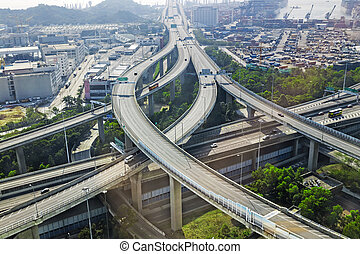 aerial view of the city overpass in early morning,...