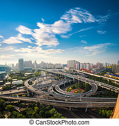 aerial view of the city overpass in early morning, shanghai, China