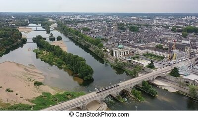 Aerial view of the city Tours and cathedral of Saint Gatien...