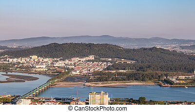Aerial view of the  city Viana do Castelo in northern Portugal