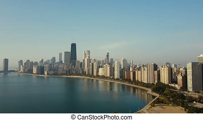Aerial view of the cityscape of Chicago, America early in...