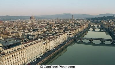 Aerial view of the cityscape of Florence in the evening,...