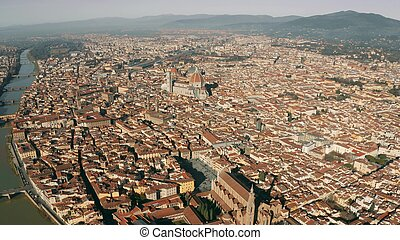 Aerial view of the cityscape of Florence on a sunny day, Italy