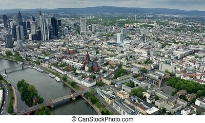 Aerial view of the cityscape of Frankfurt am Main, Germany -...